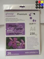 Бумага Colortek А4 230 г/м2, 20 листов  Глянцевая одностор